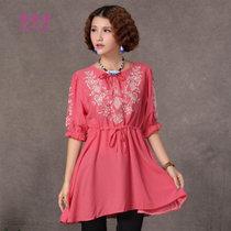 莉菲姿 民族风新款春夏款女装五分袖绣花长款衬衣束腰大码显瘦(红色 均码)