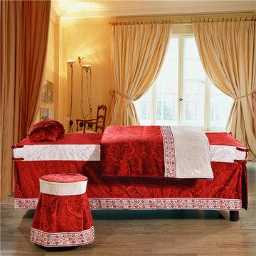 欧式雪尼尔美容院按摩院专用spa床罩方圆头(浮雕大红 定做咨询客服)