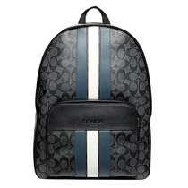 COACH/蔻馳 新款男包 男士條紋pvc拼牛皮休閑雙肩包 背包 電腦包 旅行包 F67250(黑色)
