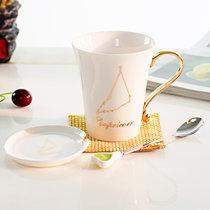 十二星座杯子带盖 韩式创意水杯时尚陶瓷马克杯情侣对杯水瓶座十二星座杯(魔蝎座)