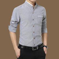 冲锋道 男士2019春季新款修身大码长袖衬衫 男韩版免烫寸衫纯色商务休闲正装长袖衬衣(QCCA425-2210灰色 L)
