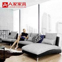 A家家具 ?#23478;?#27801;发 懒人欧式沙发美式?#23478;?#27801;发组合沙发床 现代简约经济型省空间客厅沙发整装组合(黑色+灰色 单+双人+贵妃)