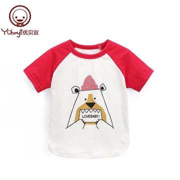 优贝宜 儿童夏季短袖T恤 男女童卡通半袖 宝宝夏装休闲上衣潮99187(99187#小熊 130cm)