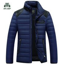 冬装新款战地吉普AFS JEEP白鸭绒羽绒服立领短款男士1512防寒保暖(蓝色 3XL)