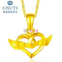 CNUTI粤通国际珠宝 黄金吊坠 足金天使之翼项链挂坠 黄金饰品 约1.74g