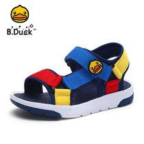 B.Duck小黄鸭童鞋男童凉鞋2018夏季儿童沙滩凉鞋露趾透气运动凉鞋B2985905(34码/约220mm 深蓝)