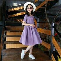 女孩裙子連衣裙短袖2019童裝衣服女童中大童韓版時尚兒童夏裝新款六件套(l 白)