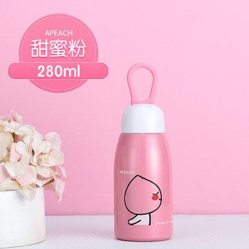 保温杯男女士不锈钢运动壶儿童学生创意可爱水杯子f(apeach(280ml))