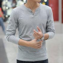 秋装男士长袖T恤男装潮修身V领纯棉体恤纯色打底衫上衣服秋衣小衫(长袖扣子灰色 XXXL)