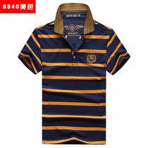 NIANJEEP/吉普盾  新夏装短袖t恤 男士polo衫半袖衫翻领条纹短T恤9340(黄色 XXXL)