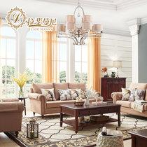 拉斐曼尼 KS020 美式乡村沙发田园地中海沙发单双三人沙发小户型布艺沙发组合(咖啡色 单人位)