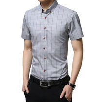 男士夏季格子衬衫 修身男式衬衫棉格子免烫短袖衬衫(灰色 XXL)