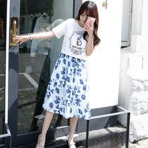 Mistletoe2017新款韩版女装夏 甜美印花兔子两件套修身流行连衣裙F6690(白色 L)