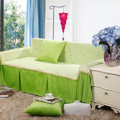 bolly宝莱国际 超柔欧式布艺沙发罩(太阳花-绿色 三人