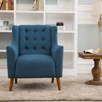 万诚家具美式单人沙发椅欧式北欧沙发卧室阳台咖啡厅休闲时尚布艺小沙发(湖蓝色 单人沙发)