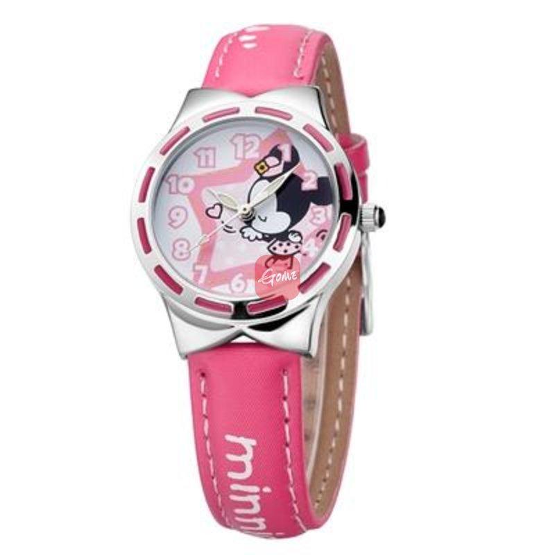 disney/迪士尼 可爱小女孩儿童手表 米奇女学生手表 真皮带dc-54009