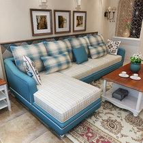 思巧 布艺沙发 美式乡村田园沙发 现代简约沙发组合 小户型客厅转角可拆洗 YX103(图片色 单人+双人+左贵妃)