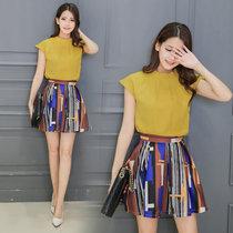 莉菲姿 春夏裝新款女裝短袖短裙時尚套裝兩件套連衣裙裙褲女(圖色 XXL)