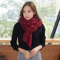 围巾女冬天韩版潮新款羊毛百搭款加厚针织保暖两用披肩围脖677888(酒红色)