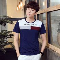 卡郎琪 男士夏季新款圆领短袖T恤单穿打底衫 男青年舒适个性拼接色块潮流T恤 男舒适百搭修身棉短袖T恤(KLQDQC1635-1深蓝色 M)