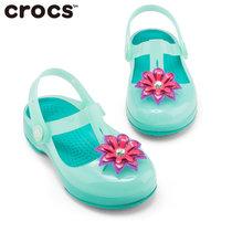 Crocs女童凉鞋伊莎贝拉夏季包头凉鞋软底果冻儿童宝宝鞋子|205044(C8 24.5码16cm 薄荷绿)