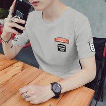 卡郎琪 男士夏季新款短袖t恤 男衣服学生体恤大码半袖男装上衣韩版潮流圆领短袖T恤打底衫(KLQKX-T77灰色 XL)
