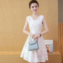 邑概念 新款女装夏韩版修身高腰中长款连衣裙女无袖印花白色欧根纱潮(白色 M)