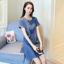 Mistletoe新款夏装短袖修身显瘦牛仔连衣裙 韩版大码中长款A字裙潮女装(蓝色 XL)