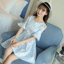 莉菲姿 2017夏季新款碎花連衣裙甜美時尚短袖短裙(藍色 XL)