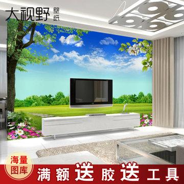 风景壁画 整张无缝客厅电视背景墙壁纸 定制无纺布卧室墙纸影视墙墙布