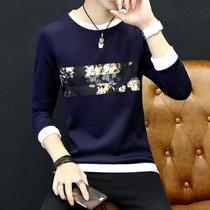 卡郎琪 男士2017秋冬新款长袖卫衣 男青年学生韩版圆领套头长袖T恤外套男秋装上衣(KLQSLS-6802深蓝色)
