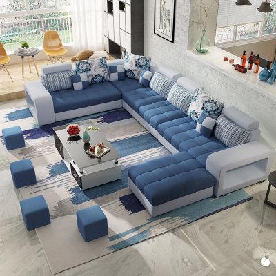 紫茉莉 大户型布艺沙发 六件套组合+地毯 2399元包邮