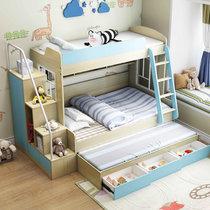 優涵 北歐風格兒童上下床兒童高低床男女孩高低床 多功能組合雙層床帶衣柜儲物柜(藍色上下床+梯柜+送床墊2張 1.35米x1.9米)