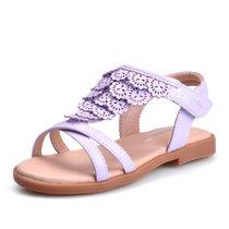 ?#25918;?#27604;童鞋女童凉鞋儿童鞋子夏女孩公主鞋女生花朵凉鞋中大童凉鞋S725531(31码/约199mm 紫色)