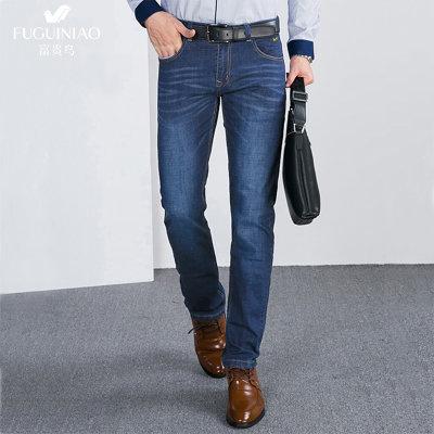 富贵鸟FGN牛仔裤男修身 男士舒适休闲长裤直筒弹力水洗裤子 16063FG9061(牛仔蓝 29)
