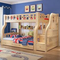 都市名門【包安裝】全實木床上下鋪床高低床子母床實木床兩層木質男女孩母子床簡約現代兒童床雙層床雙人床多功能公主床(梯柜款[包安裝] 上寬1.0米下寬1.2米)