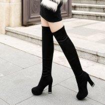 欧美长靴过膝靴女超高跟粗跟尖头骑士靴绒面单靴弹力靴子大码鞋潮(36)(咖啡色普通单里版)