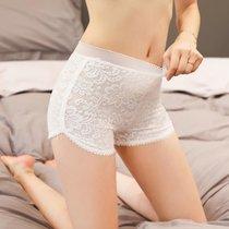 2条装蕾丝安全裤白色防走光女夏季可外穿打底裤薄平角保险裤内裤(黑色+黑色 均码)
