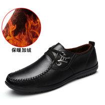 羊骑士商务皮鞋男韩版秋新款四季百搭休闲皮鞋男士系带青年皮面鞋子(MX1570-1黑色 44)