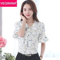 VEGININA 韩版喇叭袖印花碎花雪纺衫短袖 9479(白蓝花 XL)