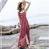 莉菲姿 夏季新款女装裙子海边度假裙复古v领系带波西米亚吊带裙开叉露背连衣裙女(酒红色 XL)