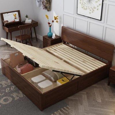贵人家源 北欧实木现代简约1.5m胡桃色双人床