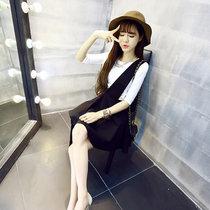 莉菲姿 夏季蓬蓬裙收腰背带裙背心短裙套装韩版连衣裙两件套(白色衣+裙 XL)