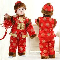 喜庆宝宝唐装冬?#20449;?#20799;童周岁百岁礼服加厚棉衣婴儿唐装冬新年套装新年装拜年服(100码(身高90-100) 红色)