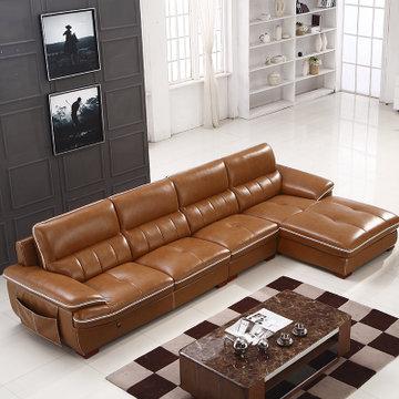 艾瑞玛 皮沙发 现代时尚客厅组合沙发 转脚储物小户型沙发 棕色(棕色