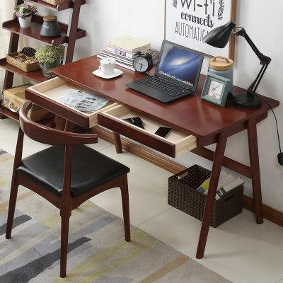 649元包邮  一米色彩 日式小户型实木书桌 (升级款胡桃色 1.2米桌+椅)