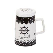 潔雅杰系列創意陶瓷杯子情侶水杯咖啡杯帶蓋帶勺馬克杯牛奶杯 舵