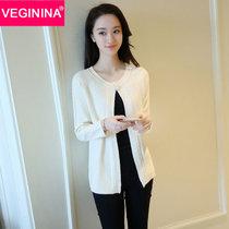 VEGININA 韓版圓領針織開衫披肩毛衣外搭 3210(米白色 均碼)