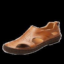 大盛公羊2017夏季新款沙滩鞋男青年休闲凉鞋男士凉拖鞋罗马仕潮流凉鞋包头套脚DS1838(黄棕 44)
