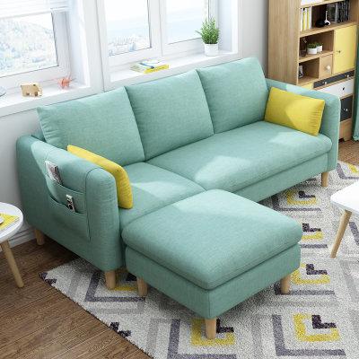 进畅家具 布艺沙发 薄荷绿 三人+脚踏(海绵款)